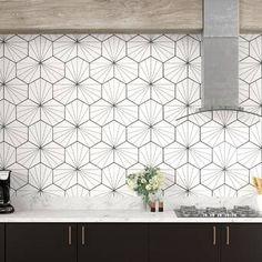 """Kitchen EliteTile Misha Hex 9 """"x Porzellan Mosaikfliesen Ceramic Mosaic Tile, Ceramic Subway Tile, Stone Mosaic Tile, Glass Subway Tile, Marble Mosaic, Mosaic Wall, Mosaic Glass, Porcelain Tile, Cement Tiles"""