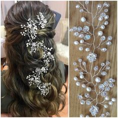 Stunning bridal headpiece will underline the beauty of your long wedding hairstyle. This elegant wedding hair vine created with tender natural freshwater pearls, sparkling crystal beads and silver wire. This exquisite crystal headband is perfect on both dark and blond hair and will