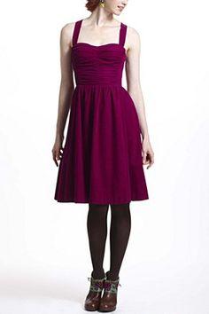 I love corduroy and halter dresses! -Ruched Corduroy Halter Dress   Anthropologie.eu