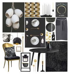"""Black, White & Gold"" by ladomna ❤ liked on Polyvore featuring interior, interiors, interior design, home, home decor, interior decorating, Cutipol, Regina-Andrew Design, Mat The Basics and Sarah Cihat"