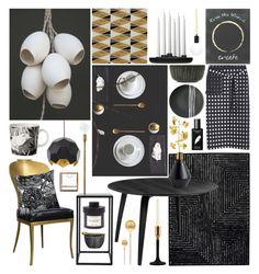 """Black, White & Gold"" by ladomna on Polyvore featuring interior, interiors, interior design, home, home decor, interior decorating, Cutipol, Regina-Andrew Design, Mat The Basics and Sarah Cihat"
