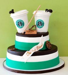Going to ask to make this cake for my sister Jessica Unique Cakes, Creative Cakes, Beautiful Cakes, Amazing Cakes, Fondant Cakes, Cupcake Cakes, Starbucks Birthday Party, Birthday Cake Girls, Birthday Cakes