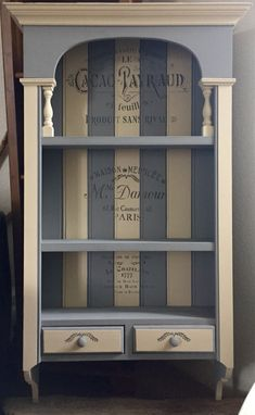Solid Pine Wall Unit, Lovingly Up-Cycled To Create This Stunning Piece, That Would Add The Wow Factor To Any Room! Painted In Annie Sloan Old Ochre & A Mix Of Paris Grey & Graphite, With Stencilling In A Darker Shade Of The Latter, Then Finished Off With Two Generous Coats Of Annie Sloan Wax To Give It That Durability!