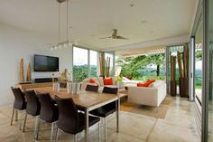 Architecture:One Room With Many Function Us Living Room Dinning Room And TV Room With Some Furniture There And White Ceiling The Room Has Gl...