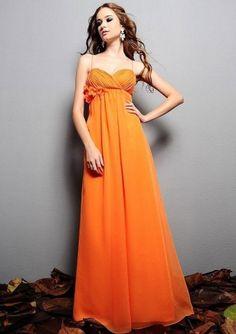 f278f90c888c A-line Chiffon Spaghetti Straps Empire Floor-Length Zipper Sleeveless  Flowers Ruching Bridesmaid Dress