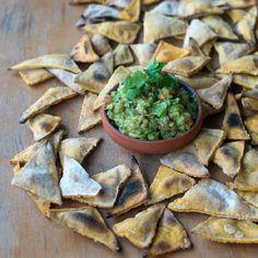 Guacamole and homemade nachos.