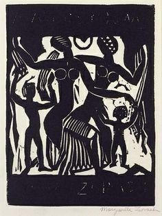 The Dance, 1917, Marguerite Zorach, linoleum cut on paper, sheet: 10 3/8 x 8 in. (26.5 x 20.2 cm), Smithsonian American Art Museum, Museum purchase,  1982.2