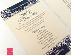 Navy Blue Modern Damask Wedding Ceremony Program Card