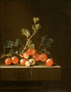 'Gooseberries on a Table' by Adriaen Coorte, Cleveland Museum of Art - Still-life paintings from the Netherlands, - Wikipedia List Of Paintings, Old Paintings, Still Life Flowers, Still Life Fruit, Dutch Still Life, Dutch Golden Age, Cleveland Museum Of Art, European Paintings, Botanical Art