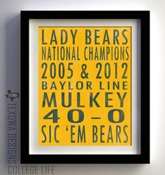 Baylor University Lady Bears Basketball Subway Art