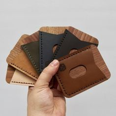 DIY handmade leather wood card wallet - DIY handmade leather wood card wallet Source by