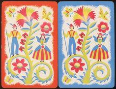 Vintage Single BLANK BACK Swap Cards ~ Folk Art Boy & Girl ~ Lot of 2
