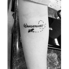 My first tattoo done by my brother. I said i want Wanderlust with an airplane and he came up with this. I love it!