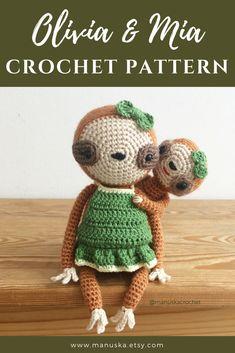 Olivia & Mia - Crochet sloth mama & baby pattern. Crochet sloth pattern, Amigurumi sloth pattern, crochet doll pattern by Manuska