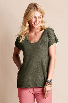 Women's Slouchy Printed Pocket Tee from Lands' End $19.99