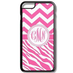 Hot Pink Chevron Zebra Monogram Iphone 6/6s Case Plus 5c 5/5s 4/4s Personalized Custom Cover