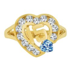 14k Yellow Gold, 15 Anos Quinceanera Heart Ring Cubic Zirconia Dec Birthstone (R124-112)