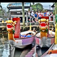 Dragonboats during Rick's Mad Paddler's Rally.