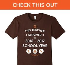 Mens Queens Kings Teacher survived the 2016-2017 shool year tee Medium Brown - Careers professions shirts (*Amazon Partner-Link)