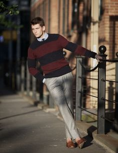 For the men - A navy and red stripe sweater.