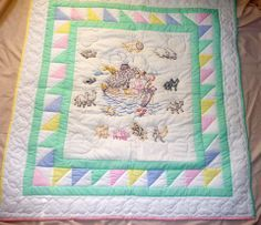 Amish Baby Quilt Amish Quilt for Sale Noahs Ark Embroidered Amish Baby Quilt