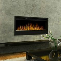 Cool concrete finish surrounds the Dimplex fireplace.