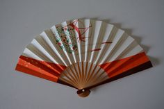 Hand fan, lacquered bamboo and paper, Japanese tea ceremony sensu by StyledinJapan on Etsy