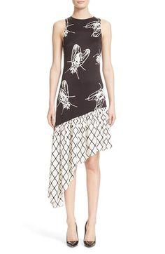 Ashley Williams 'Black Fly' Asymmetrical Silk Sheath Dress