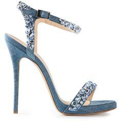 ERMANNO SCERVINO jewel embellished sandals (9 400 SEK) ❤ liked on Polyvore featuring shoes, sandals, heels, scarpe, strappy heeled sandals, ankle strap heel sandals, ankle strap shoes, strappy stiletto sandals and stiletto sandals