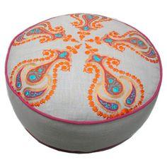 Cotton pouf with contrast trim.   Product: PoufConstruction Material: CottonColor: Multi D...