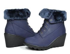 DREAM PAIRS Women's Fashion Fur Lined Lace Up Chunky Heel Wedge Platform Winter Ankle Boots -- This is an Amazon Affiliate link. Want to know more, click on the image.