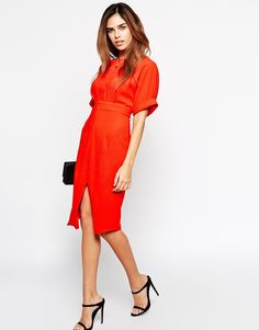 Image 4 of ASOS PETITE Wiggle Dress with Split Front
