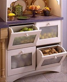 Kitchen Conspiracy: Bins for non-refrigerated produce to put in pantry. Potatoes, Tomatoes, Onions (but kept away from potatoes), Apples,