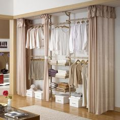 18 Tidy Curtain Closet Doors To Conquer The Mess is part of Closet curtains - Curtains are a nice accessory to add to your home, but only until recently they were not even considered as a replacement of closet doors This has Curtain Wardrobe, Curtains For Closet Doors, Bedroom Closet Doors, Bedroom Closet Design, Bedroom Wardrobe, Closet Designs, Curtain Closet, Kids Clothes Storage, Closet Storage