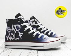 Doctor Who Bad Wolf TARDIS custom Converse All Star shoes handmade painted sneakers