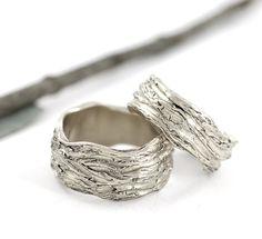 Redwoods Tree Bark Wedding Rings - Made to Order - Beth Cyr Handmade Jewelry