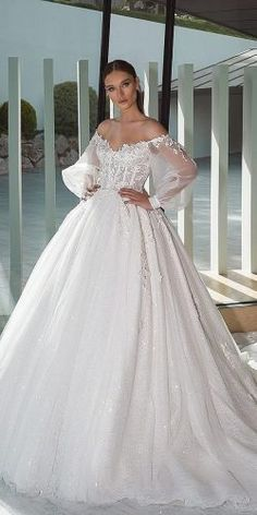 Wedding Dresses Simple, Stunning Tulle Off-the-shoulder Neckline Ball Gown Wedding Dresses With Lace Appliques & Beadings & Sequins Midi Bridal Uk - Wedding Dresses Lace Stunning Wedding Dresses, Wedding Dresses For Girls, Princess Wedding Dresses, Perfect Wedding Dress, Bridal Dresses, Bridal Gown, Elegant Dresses, Wedding Dress Organza, Wedding Gowns