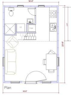 Farmhouse Style House Plan - 0 Beds 1 Baths 352 Sq/Ft Plan #500-2 Main Floor Plan - Houseplans.com -- 16 x 22