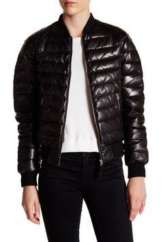 Genuine Leather Packable Laminated Bomber Jacket by Mackage on @nordstrom_rack