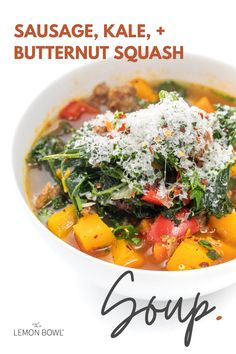 Spicy Italian sausage, hearty kale, and creamy butternut squash create a warm and satisfying soup that is perfect for freezing. Oven Roasted Cauliflower, Cauliflower Recipes, Kale Soup, Bowl Of Soup, Good Healthy Recipes, Healthy Soup, Healthy Dinners, Vegetarian Recipes, Healthy Eating