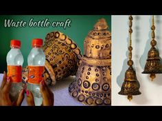 Waste Bottle Craft, Bottle Cap Crafts, Diy Bottle, Clay Wall Art, Clay Art, Weaving For Kids, Diy Diwali Decorations, Mirror Crafts, Indian Arts And Crafts