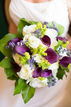 green white and purple bridal bouquet