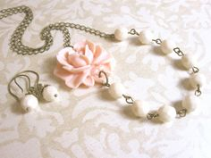 Pastel Pink Necklace Flower Necklace Pastel Jewelry Bridesmaid Jewelry Bridal Jewelry Rustic Wedding