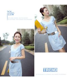 Free Shipping !2014 Summer  Europe Sweet Style Double V-neck Jeans Dress For Women  Wholesale $25.80