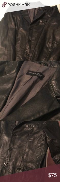 Kenneth Cole Leather sports blazer This sports blazer is in great condition the size is XXL doesn't have anything wrong with it no holes no rips or no major flaws Kenneth Cole Suits & Blazers Sport Coats & Blazers
