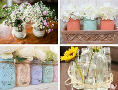 Para o casamento no campo, vidros de conserva podem ser usados de formas variadas: como copo de caipirinha, centro de mesa, suporte de velas e vasinho de flor.