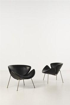 Pierre Paulin; #F437 'Orange Slice' Chairs for Artifort, c1960.