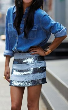 Chambray + sequin skirt