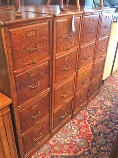 Turn Of Century Bank Tiger Oak Filing Cabinet