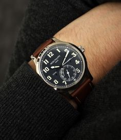 Patek Philippe 5524G-001 Calatrava Pilot Travel Time automatic white watch at A Collected Man London
